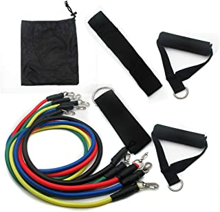 Exercise Resistance Bands 11 Piece Set For Men & Women Heavy Fitness Tube Gym Strength Training,5 Multi Colour Bands, Hand...