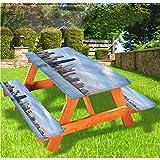 Mantel ajustable con borde elástico de Chicago Cityscape Summer Sky de 28 x 172 pulgadas, juego de 3 piezas para camping, comedor, al aire libre, parque, patio