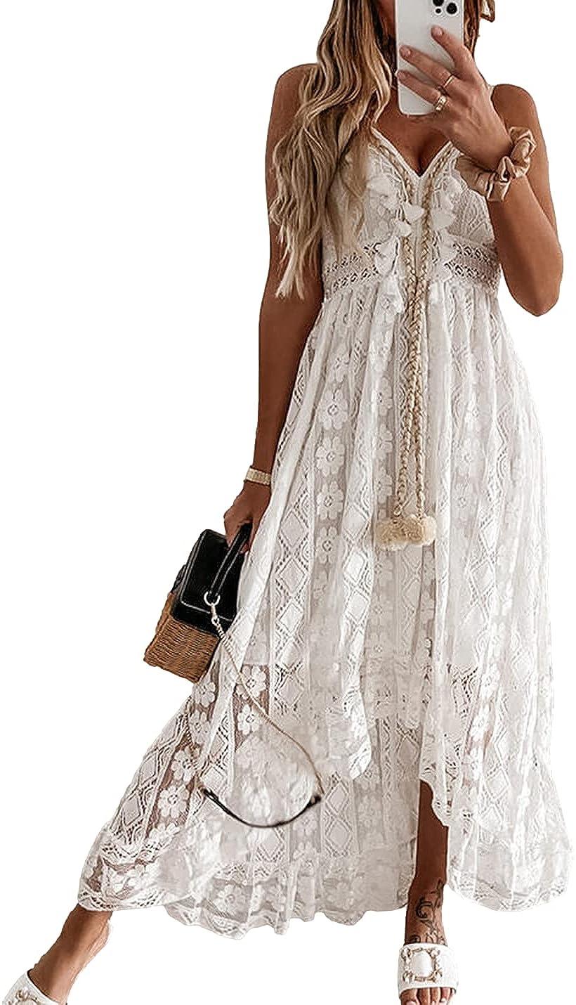 PUWEI Women's Hollow Floral Lace Crochet V Neck Spaghetti Straps Swing Maxi Long Dresses