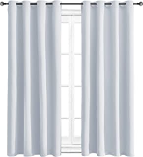 WONTEX Blackout Curtains Room Darkening Thermal Insulated Living Room Curtains, 52 x 63 inch, Greyish White, 2 Grommet Curtain Panels