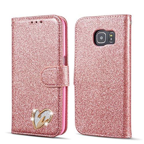 QLTYPRI Samsung Galaxy S6 Hülle, Glitzer Handyhülle PU Ledertasche TPU Etui Handschlaufe Kartenfach mit Eingelegten Liebe Herz Diamond Flip Schutzhülle für Samsung Galaxy S6 - Roségold