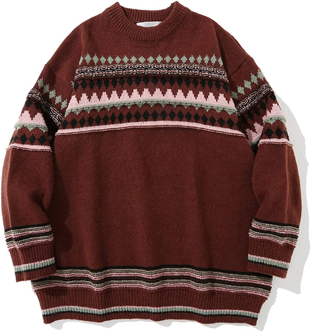 Geometry Sweater Men Streetwear Autumn Winter Casual Pullover Vintage Couple Oversized Sweater