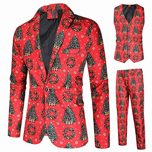 Tuta da Uomo Natale Stampe Diverse Costume Natalizio Include Giacca Pantaloni Gilet (3XL,8Multi Colore)