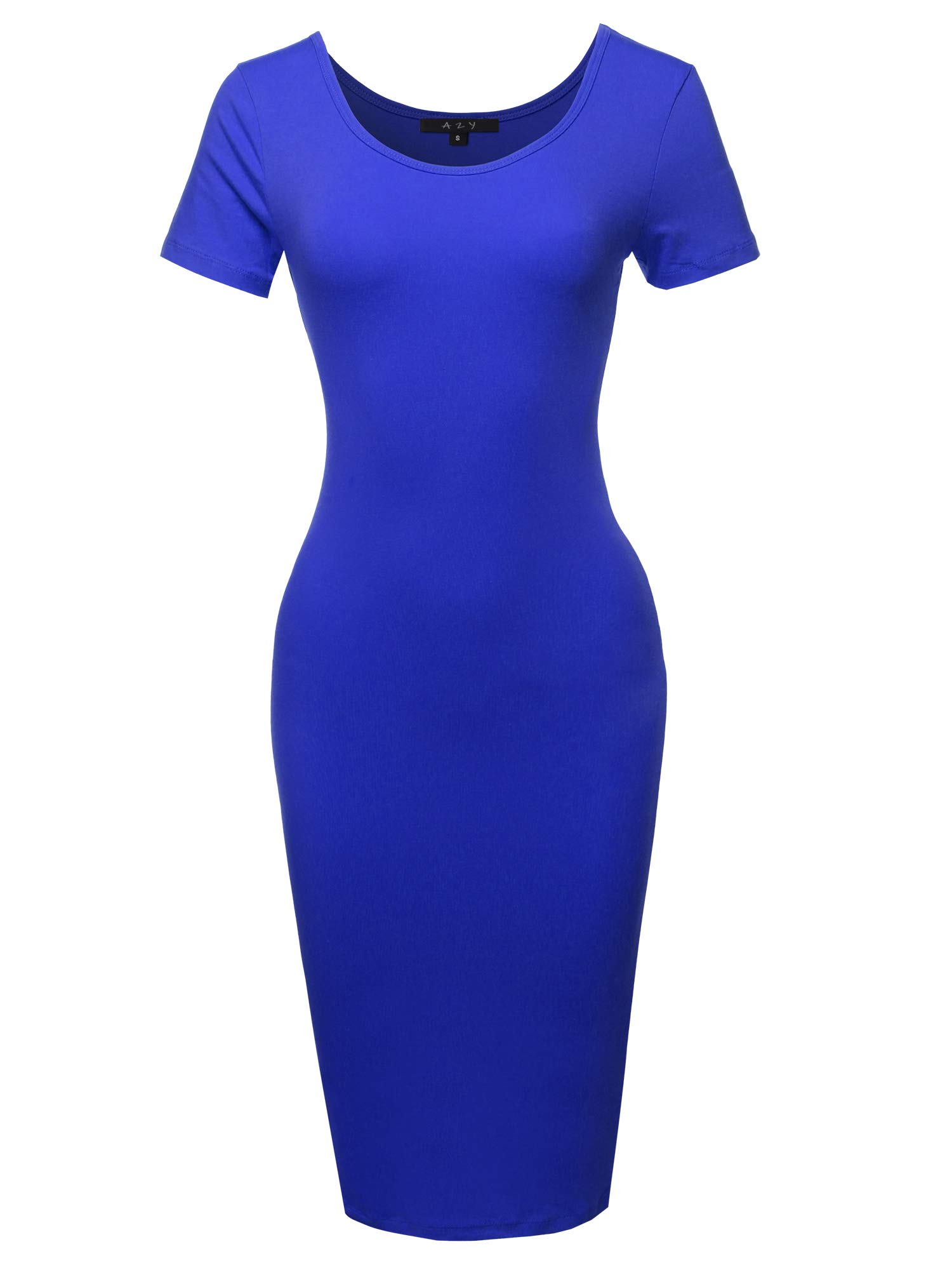 Available at Amazon: Women's Solid Fitted Classic Short Sleeve Premium Cotton Midi Dress
