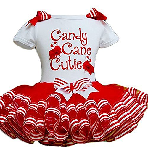 Little Girls Christmas Holiday Candy Cane Cutie Tutu, Red/White, Size 1-2 Years