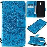 KKEIKO Hülle für Nokia 1 Plus, PU Leder Brieftasche Schutzhülle Klapphülle, Sun Blumen Design Stoßfest Handyhülle für Nokia 1 Plus - Blau