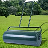 COSTWAY 63L Garden Grass Roller, Large Capacity Lawn Push Rolling Tool, Heavy Duty Drum & Removable Drain Plug, Fill with Water or Sand, Premium Galvanized Steel