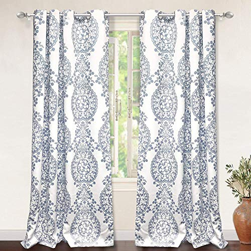 DriftAway Samantha Thermal Room Darkening Grommet Unlined Window Curtains Floral Damask Medallion Pattern 2 Panels Each 52 Inch by 84 Inch Blue