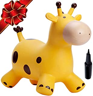 Babe Fairy Bouncy Horse with Pump-Jumping Horses Animals Hopper-Toddlers Inflatable Toys (Yellow Deer)