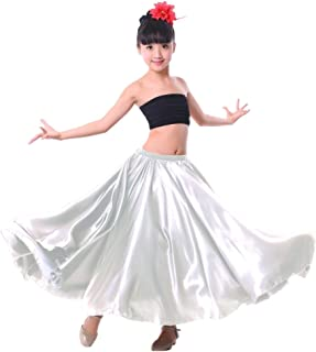 Girl Children Color Stretched Waist Performance Circle Skirt Belly Dance Dress