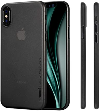 memumi Compatible con iPhone X Funda, para iPhone X Thin Fit [0.3MM] Premium Matte Finish Coating para iPhone X Case (Negro Transparente)