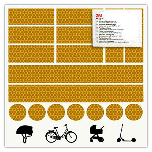 - 3M - Reflektoren-Aufkleber - Reflektor-Set für z. B. Fahrrad, Helm, Skateboard, Auto, Motorrad, Kinderroller - Verbessert Sichtbarkeit & Sicherheit - Hergestellt mit 3M Diamond Grade Tape (Orange)