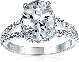 3CT Brilliant Cut Oval AAA CZ Engagement Ring For Women Cubic Zirconia Split Pave Shank Band Sterling Silver