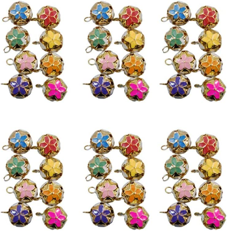 Healifty 100 Pcs Keychain Bell Charm Mini Metal Bell Japanese Bell for Costume Decor Backpack Keychain Accessories 14MM Mixed Color