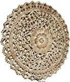 Tropical Bali Wood Carved Wall Art Plaque. Round Wood Wall Decor. Floral Wood Wall Hanging. 24' (White Wash)