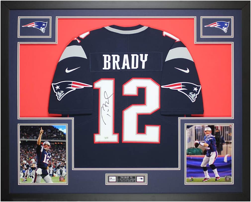 Tom Brady Autographed Blue New England Jersey - Beautifully Matted ...