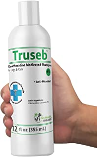 Truseb | #1 Chlorhexidine 4% Medicated Shampoo for Dogs & Cats- Anti Microbial Cleansing&Deodorizing-Effective Against Bacterial Skin Conditions–Advance Veterinary Formula-100% Satisfaction