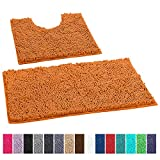 LuxUrux Bathroom Rugs Luxury Chenille 2-Piece Bath Mat Set, Soft Plush Anti-Slip Bath Rug +Toilet Mat.1'' Microfiber Shaggy Carpet, Super Absorbent Machine Washable Bath Mats (Curved Set, Orange)