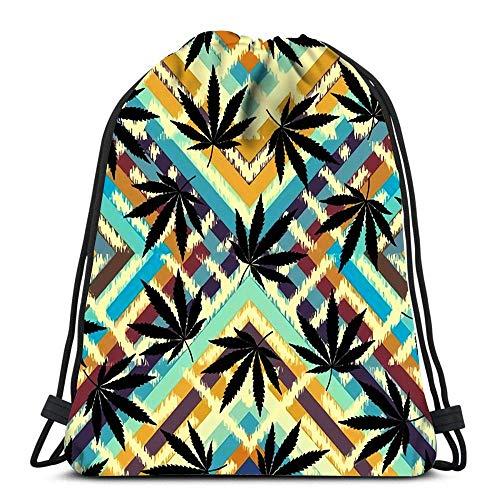 Unisex Drawstring Bags,Rastafarian Grunge Hemp Leaves Sport Gym Bag Casual Sackpack Backpack Men & Women Drawstring Backpack For Traveling Climbing School