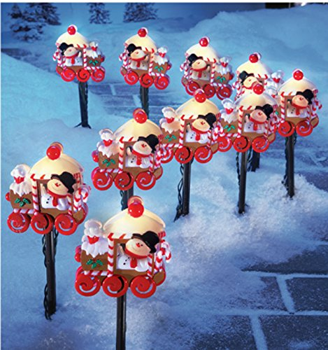 10 Pc Lighted Snowman Train Christmas Walkway Path Stake Holiday Lawn Decoration