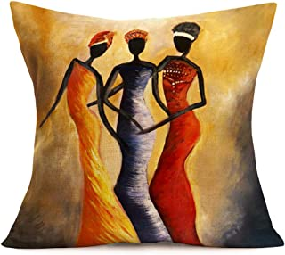 "Fukeen Tribe Lady Women Throw Pillow Covers Standard Home Decorative African Beauty Wearing Colorful Dress Pillow Cases Cushion Cover for Bed Living Room Decor Cotton Linen 18""x18"" Pillowcase Queen"