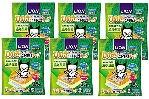 ライオン (LION) ニオイをとる砂 システムトイレ用 ひのきでニオイをとるチップ 3.5L×6袋 (ケース販売)