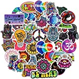 100 Pieces Hippie Stickers Cool Peace Love Hippie Water Bottles Stickers Waterproof Cartoon Hippie Decals Teens Colorful Stickers for Laptop, Luggage, Guitar, Skateboard, Refrigerator, DIY Decoration
