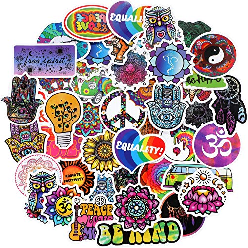 100 Pieces Boho Hippie Stickers Cool Peace Love Hippie Water Bottles Stickers Waterproof Cartoon Hippie Decals Teens Colorful Stickers for Laptop, Luggage, Guitar, Skateboard, Refrigerator, 50 Designs