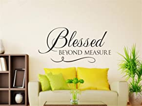 shbian Decorative Wall Stickers Removable Vinyl Decal Art Mural Home Decor Blessed Beyond Measure Bible Verse Quote for Living Room Bedroom