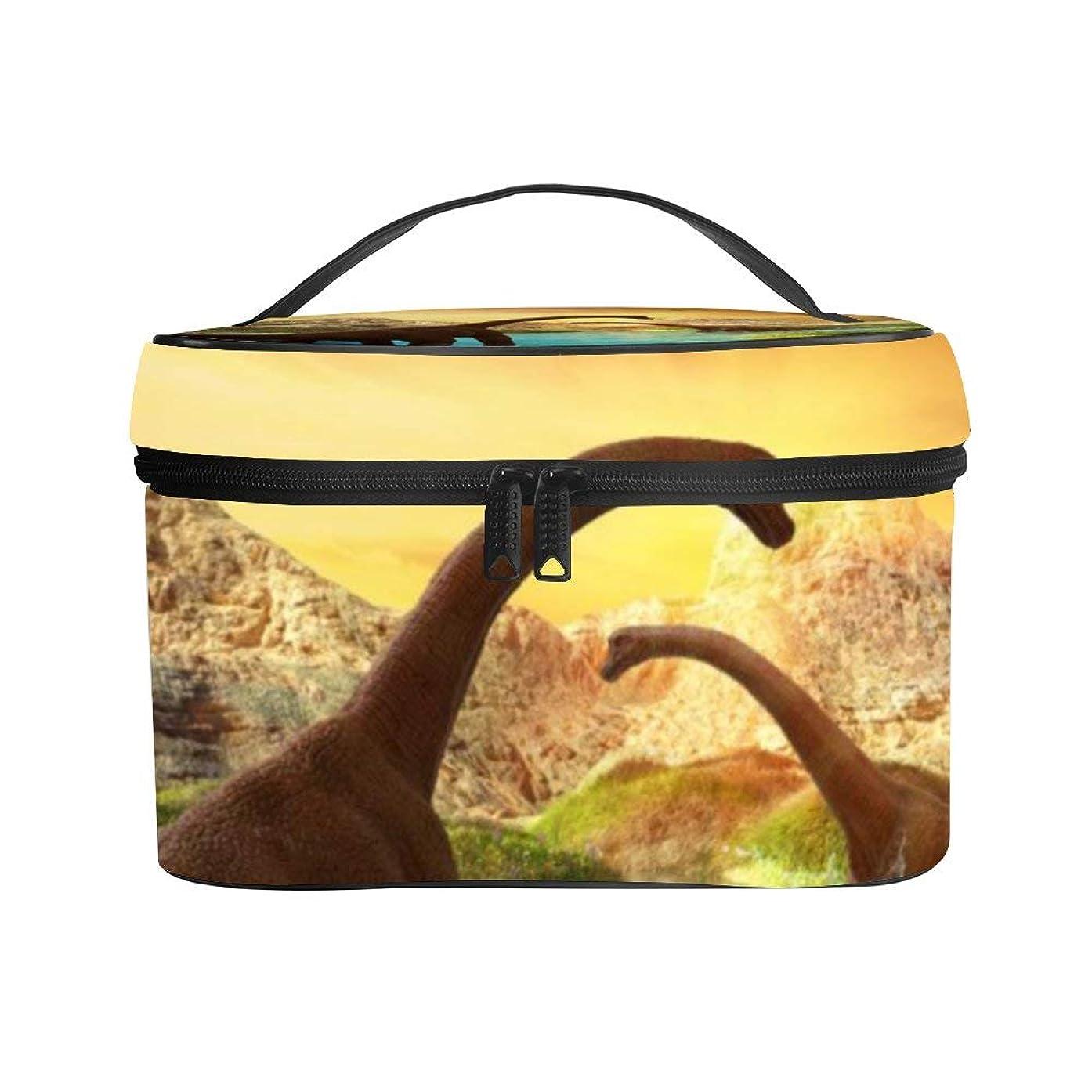 パーティーハイランドトークメイクぼっくす PUレザー コスメボックス バニティポーチ 恐竜 植物 湖 化粧ボックス メイクブラシバッグ トラベルバッグ 人気 かわいい 大容量 機能的