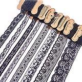 BENECREAT 15 Rolls 34.29m Black Floral Pattern Tessuto Pizzo Nastro dal Rotolo per Invito a Nozze, Carte, Decorazione, Cucito, Fiocco per Capelli, Confezione Regalo, Formato Misto