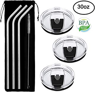 Tumbler Lids, 100% Spill Proof Lid & 3 Free Stainless Steel Drinking Straws- No Leak, Straw Friendly & Clamshell Locking Closure Replacement Lids Fits Yeti Rambler, Rtic, Ozark by COOLGUY (30 Oz)