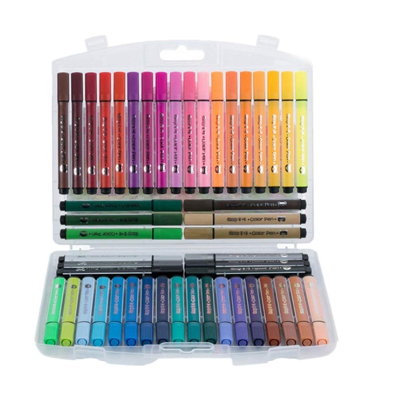 政治雹硬さ水彩ペン 水彩毛筆 水性筆 スーパーマーカー水彩ソフトフレキシブルブラシのヒントペンは、鮮やかな色を設定します子供たちは大人のぬりえの本マンガ漫画 (色 : 色)