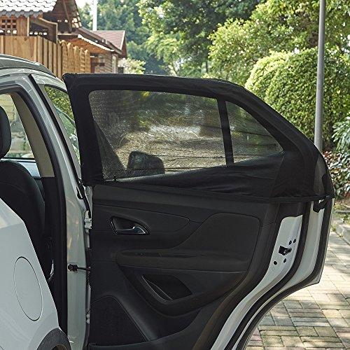 JSCARLIFE 2 Pack auto zijvenster zon schaduw ademende mesh gordijn cover beschermen baby kinderen huisdieren van zonnebril en schadelijke UV-stralen past voor auto en SUV's