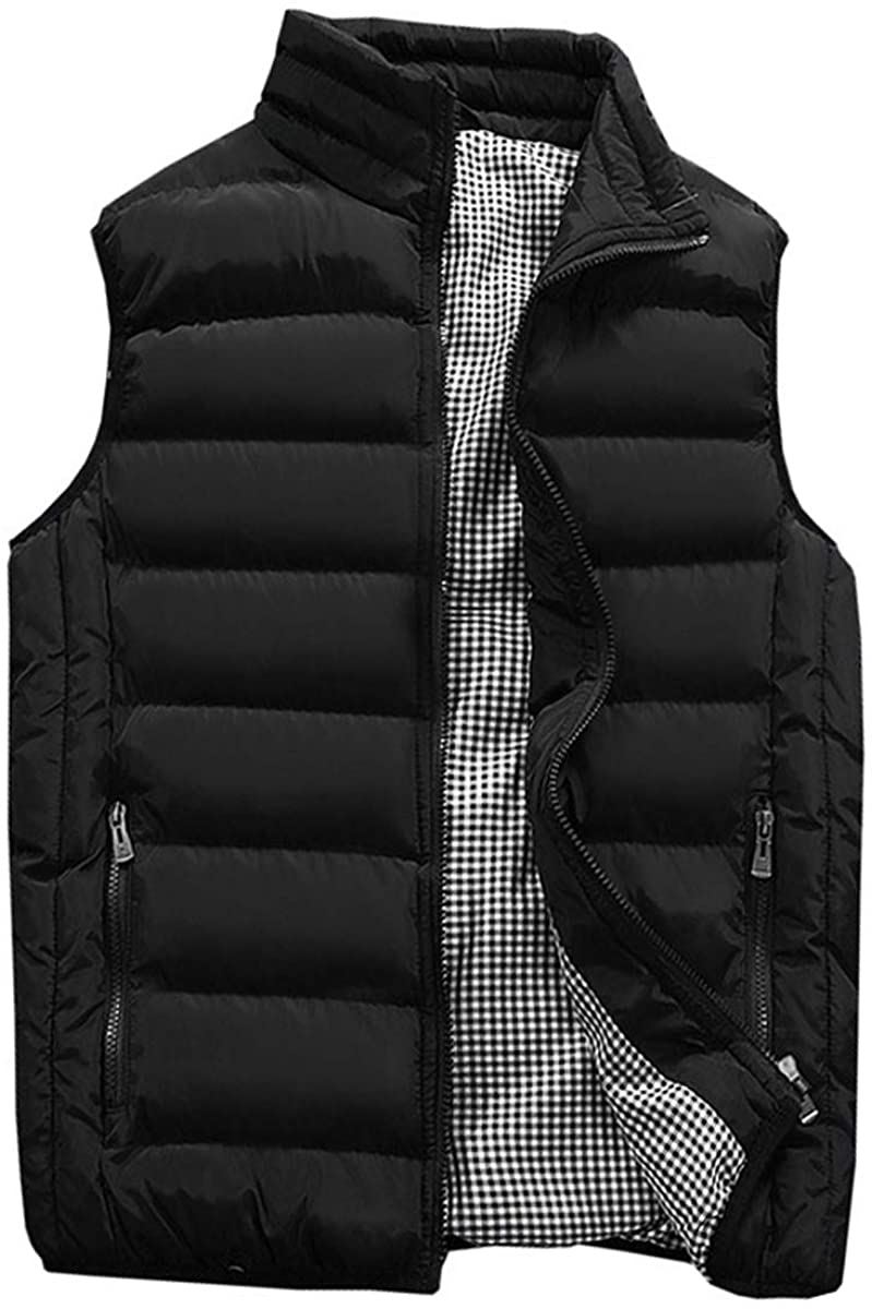 Guanzizai Mens Outdoor Casual Stand Collar Outwear Padded Vest Coats