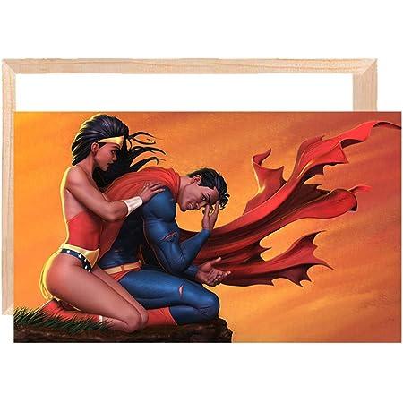 Home Wall Art Painting Superman and Wonder Woman Kiss HD Print Canvas Deco 16x24