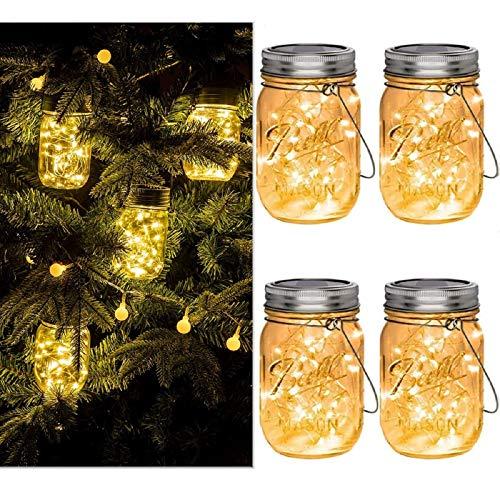 ANGMLN 4 Stück Solarlampen fur Garten 30 LED Wetterfest Solar Einmachglas Aussen Lampions Lichterkette im Glas Gartendeko Solarleuchten für Weihnachten Außen Laterne,Hochzeit, Party,Wand, Tisch, Baum