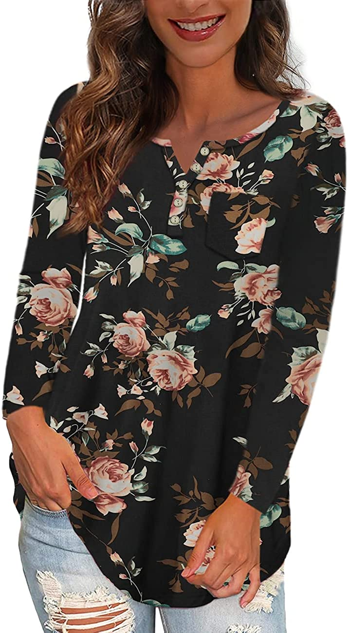 Ushdele Large-scale sale SEAL limited product Women's Plus Size Tops V Casua Henley Neck Floral Button