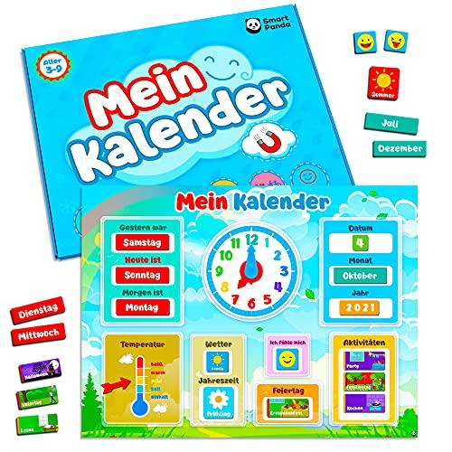 Mein erster Kalender von SmartPanda – Magnetisches Lernspielzeug für Kinder – Für Kleinkinder, Jungen und Mädchen – Uhr, Wetterstation und Emotionskacheln – Kinderspielzeug ab 3 Jahre, auf Deutsch
