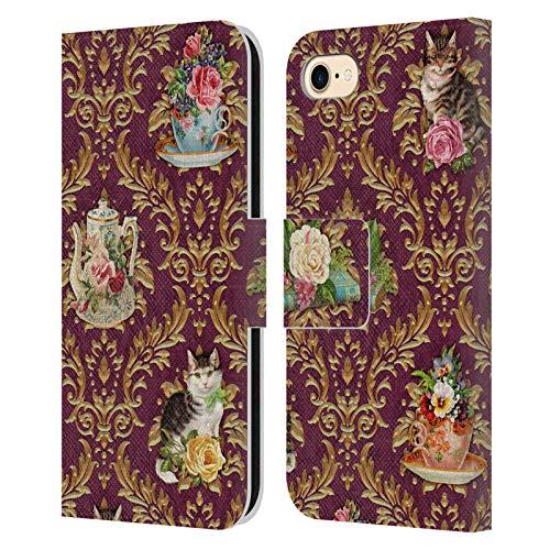 Head Case Designs Licenza Ufficiale Brigid Ashwood Ora del tè Gatti Damasco Gatti Cover in Pelle a Portafoglio Compatibile con Apple iPhone 7 / iPhone 8 / iPhone SE 2020