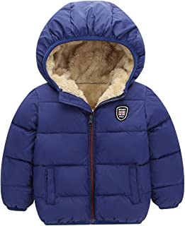 Boys Girls Winter Thick Jacket Warm Fleece Fur Lining Zipper Hooded Windproof Coat Outwear for 2-7 Years