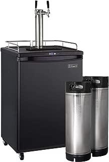 Kegco HBK163B-2K Two Faucet Digital Commercial Grade Home Brew Kegerator with 5 Gallon Keg - Black