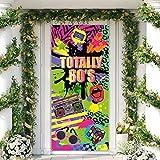 Total 80er Tür Abdeckung, Große Stoff 80er Hip Hop Zeichen Graffiti Hintergrund, 80er Party Retro Dekoration Banner für 80er Thema Party Lieferung Gefallen, 78,7 x 35,4 Zoll