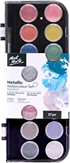 Mont Marte Signature Metallic Watercolor Set, 17 Piece, 16 Colors, 1 Paint Brush