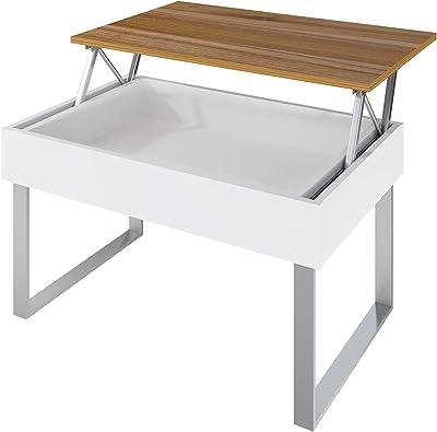 LEVIRA – Table Basse relevable avec Espace de Rangement caché, Don - 80 x 46 (fermé) y 60 (Ouvert) - Noyer Tróia