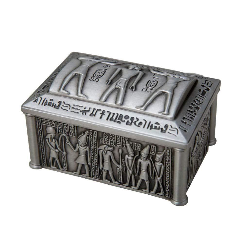 BHUIJN Estatua De La Escultura Caja De Almacenamiento De Escritorio De Metal Egipcio Caja De Decoración del Hogar: Amazon.es: Hogar