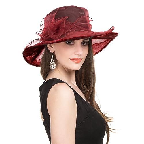 26f5a5a66f7b4 SAFERIN Women s Organza Church Kentucky Derby Fascinator Bridal Tea Party  Wedding Hat