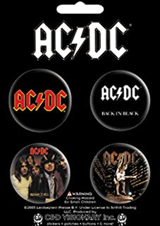 """Licenses Products AC/DC-Logo, Back in Black, Highway to Hell, Stiff Upper Lip 1.5"""" Button Set, 4-Piece"""