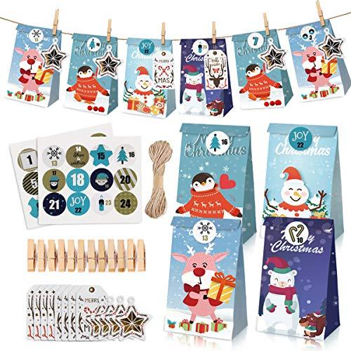 AODOOR 24 Adventskalender zum Befüllen, Weihnachten Geschenksäckchen, Adventskalender Tüten mit 24 Zahlenaufklebern, Geschenkbeutel Weihnachtskalender Papiertüten Weihnachten Kraftpapier