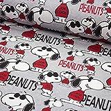 BIO Baumwoll-Jersey Stoff Peanuts Snoopy - Kinderstoff -